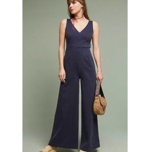 Anthropologie Chino Jumpsuit In Navy Blue